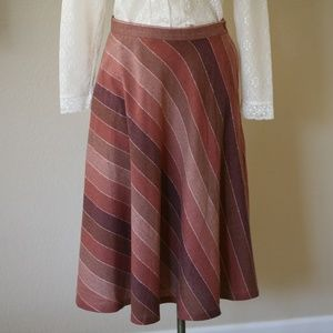 Vintage Striped Flare Skirt With Pockets - 70s 80s